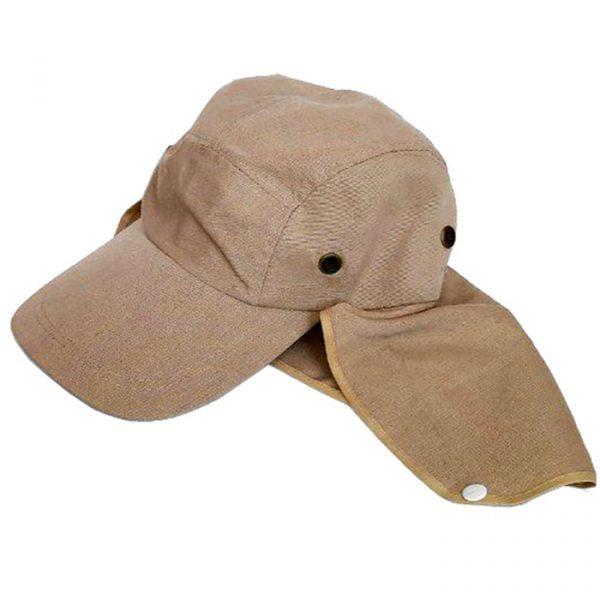 کلاه مهندسی پشت پارچه ای کتان کرم