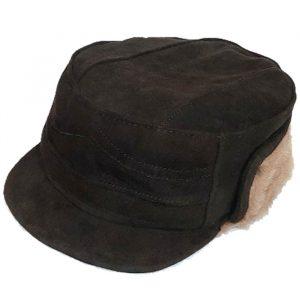 کلاه شکاری چرم گاو مشکی داخل خز k10000019