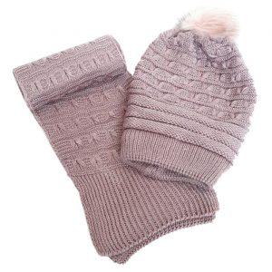 شال و کلاه بافت پوم دار گرم دخترانه سوسنی داخل خز کد63
