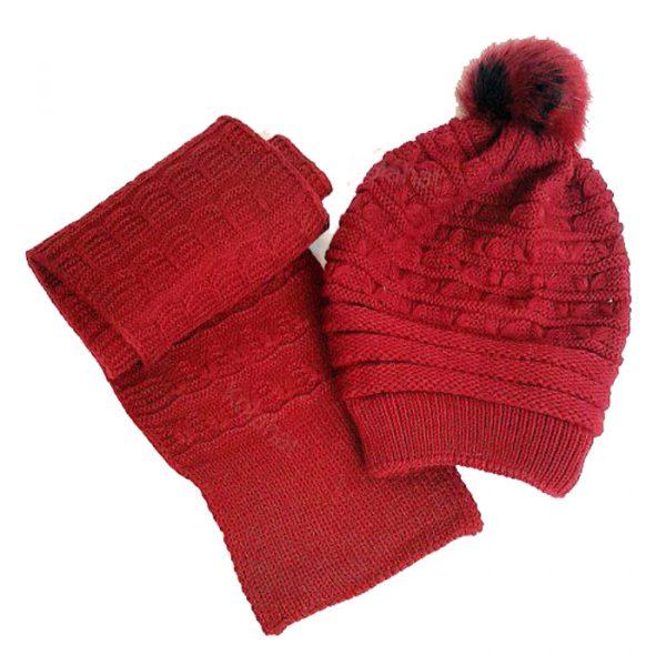 شال و کلاه بافت پوم دار دخترانه قرمز داخل خز کد-29|k10000029