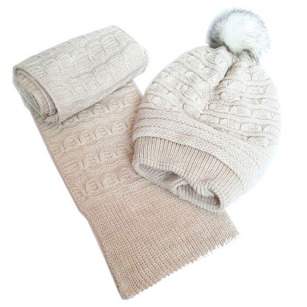 شال و کلاه بافت پوم دار گرم دخترانه سفید داخل خز کد62