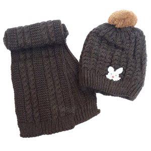 شال و کلاه بافت پوم دار گرم دخترانه طوسی داخل خز کد30- K10000030