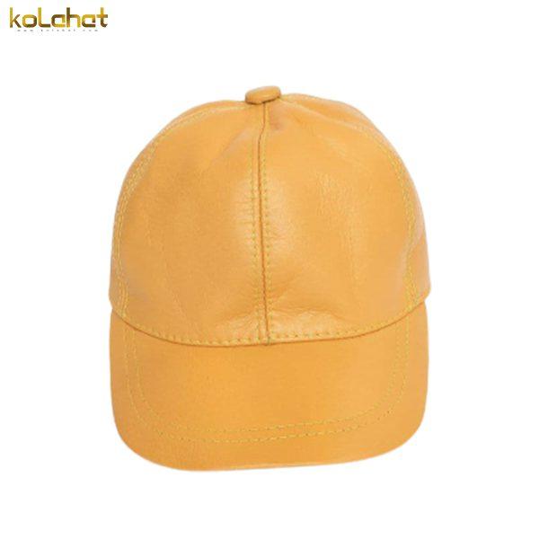 کلاه نقاب دار چرم اصل خردلی
