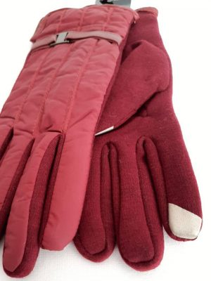 دستکش بسیار گرم و ضخیک زنانه قرمز داخل خز-کد56