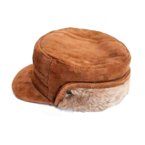 کلاه شکاری چرم اصل جیر داخل خز رنگ شتری کد78