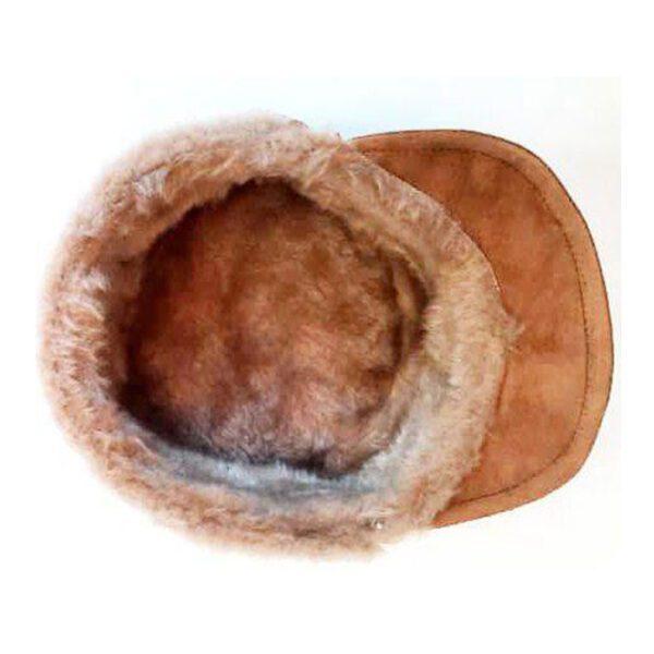 نمای داخل کلاه شکاری چرم اصل جیر داخل خز رنگ شتری کد78