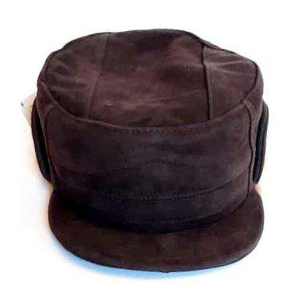 کلاه شکاری چرم جیر داخل خز رنگ قهوه ای تیره کد79