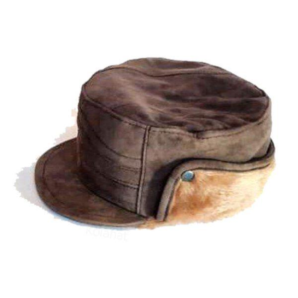 کلاه شکاری چرم جیر داخل خز رنگ قهوه ای کد80