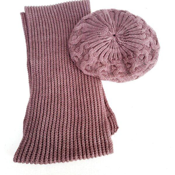 شال کلاه فرانسوی زنانه بافتنی رنگ صورتی کد95