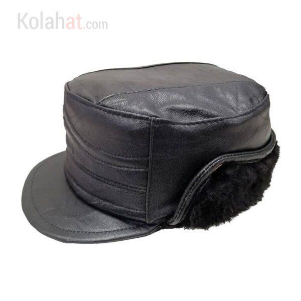 کلاه نقابدار چرم طبیعی پوست گوسفند مشکی کد119