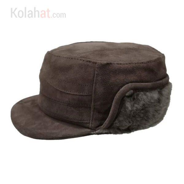 کلاه نقابدار چرم طبیعی پوست گوسفند قهوه ای کد120