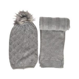 شال و کلاه دخترانه شیطونی پوم دار رنگ خاکستری