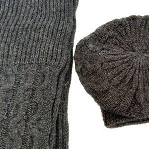 شال و کلاه فرانسوی بافت زنانه ضخیم زغال سنگی تیره کد128