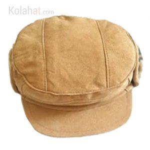 کلاه چرم شکاری جیر عسلی روشن داخل خز کد132