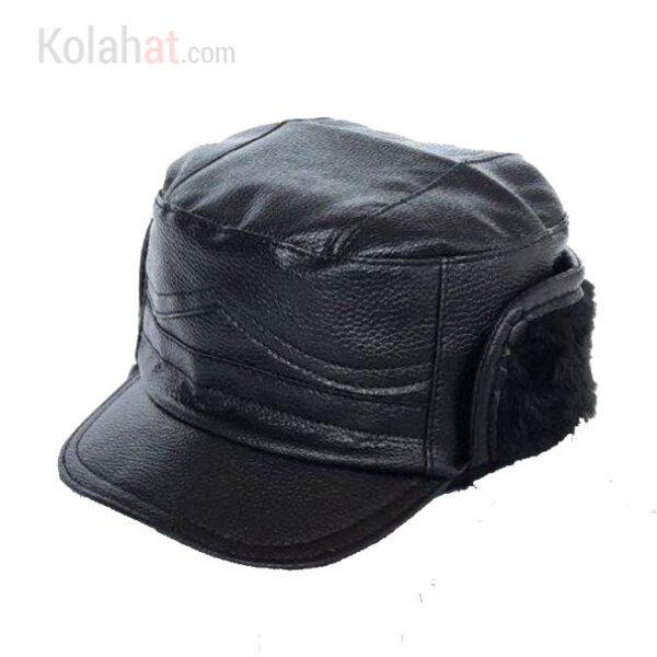 کلاه شکاری چرم مصنوعی گوشگیر رنگ مشکی کد151