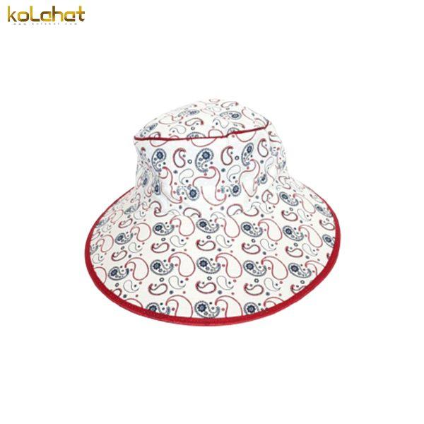 آفتابگیر کلاه دار زنانه طرح دار قرمز