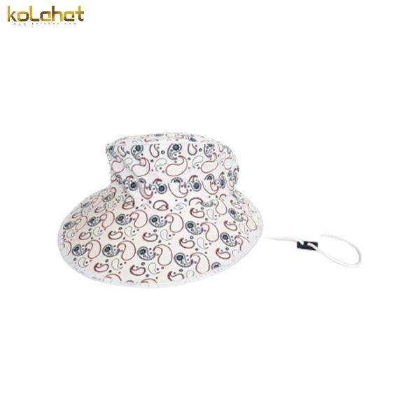 آفتابگیر کلاه دار زنانه طرح دار سفید