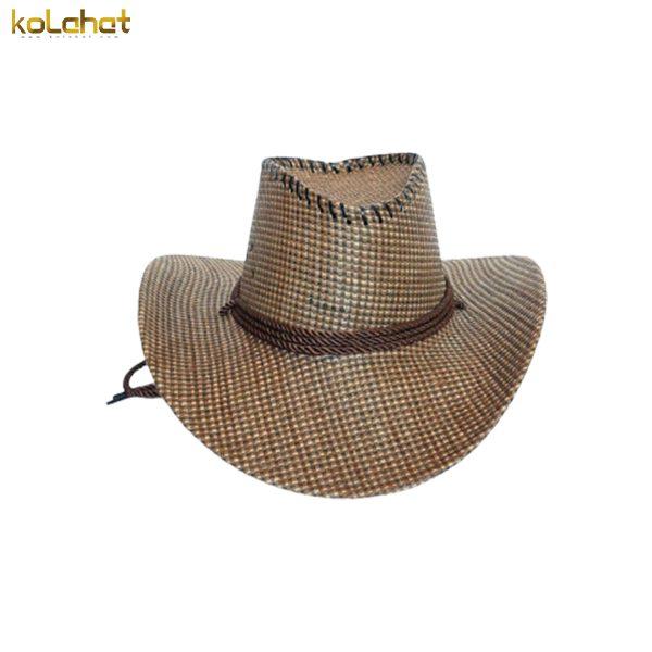 کلاه کابوی طرح حصیر قهوه ای روشن
