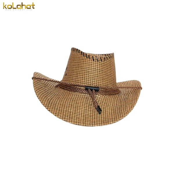 کلاه کابوی طرح حصیر قهوه ای