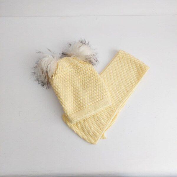 کلاه و شال گردن بافت دخترانه رنگی ( KLT-T79 )