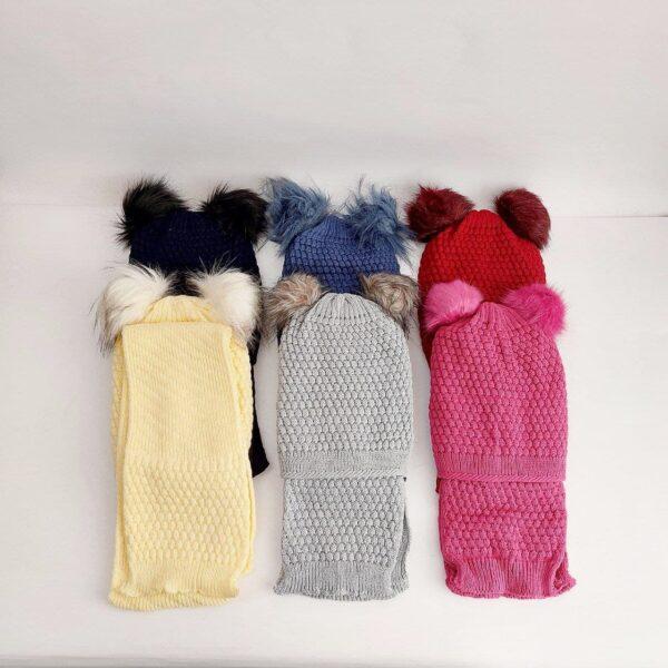 کلاه و شال گردن بافت دخترانه رنگی پم پم ( KLT-O157 )
