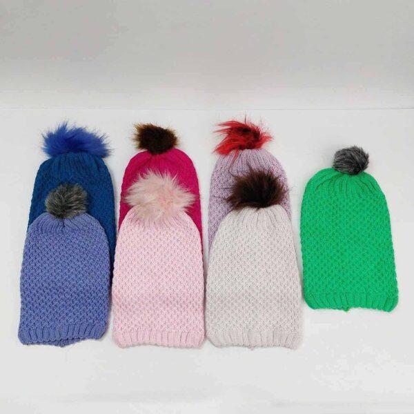 کلاه بافت دخترانه شیطونی عمده ( KLT-O160 )
