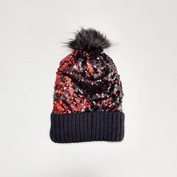 کلاه بافت پولکی زنانه پوم دار ( KLT-T87 )