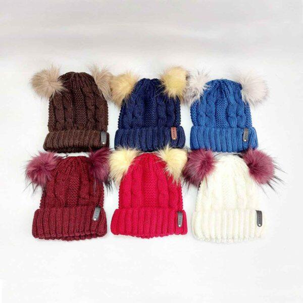کلاه بافت زنانه لبه دار پوم دار عمده