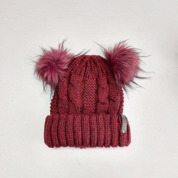 کلاه بافت زنانه لبه دار پوم دار عمده ( KLT-O173 )
