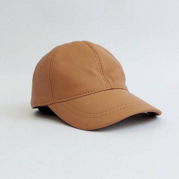 کلاه بیسبالی قهوه ای روشن چرم اصلی