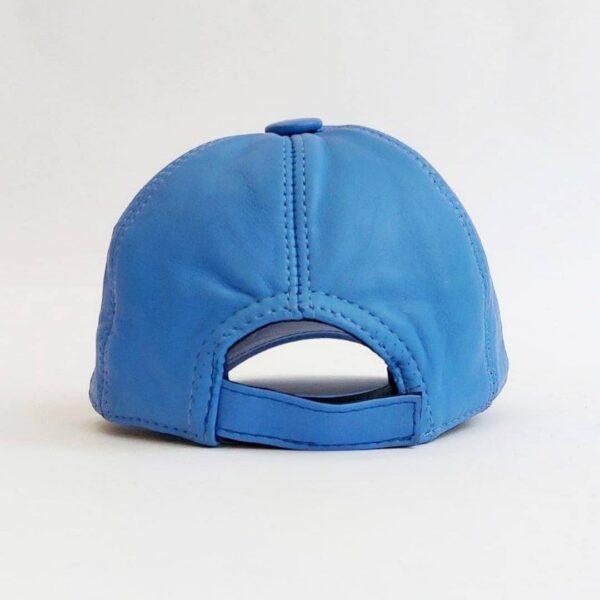 کلاه بیسبالی آبی روشن چرم اصلی