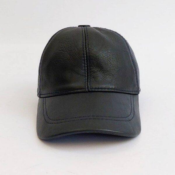 کلاه بیسبالی مشکی چرم اصلی