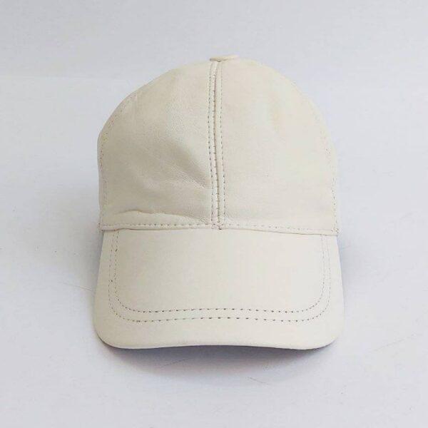 کلاه بیسبالی سفید چرم اصلی